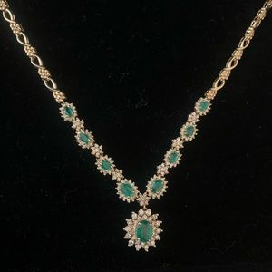 Effy Collection emerald & diamond necklace.